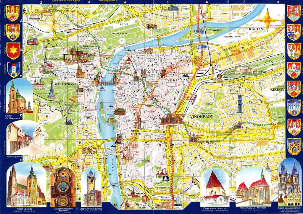 Карта достопримечательностей Праги