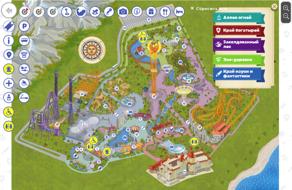 Схема Сочи-парка
