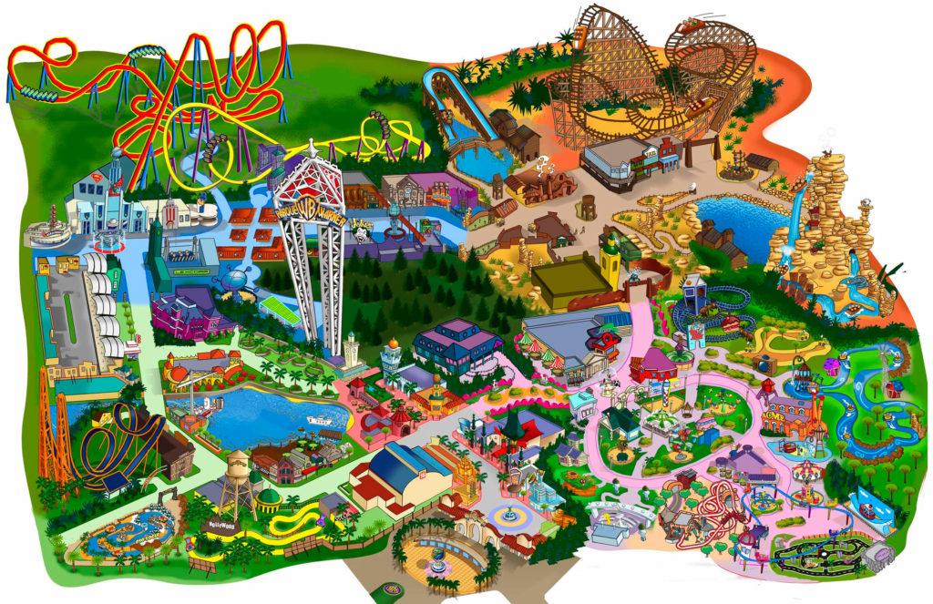 Схема парка Уорнер Бразерс