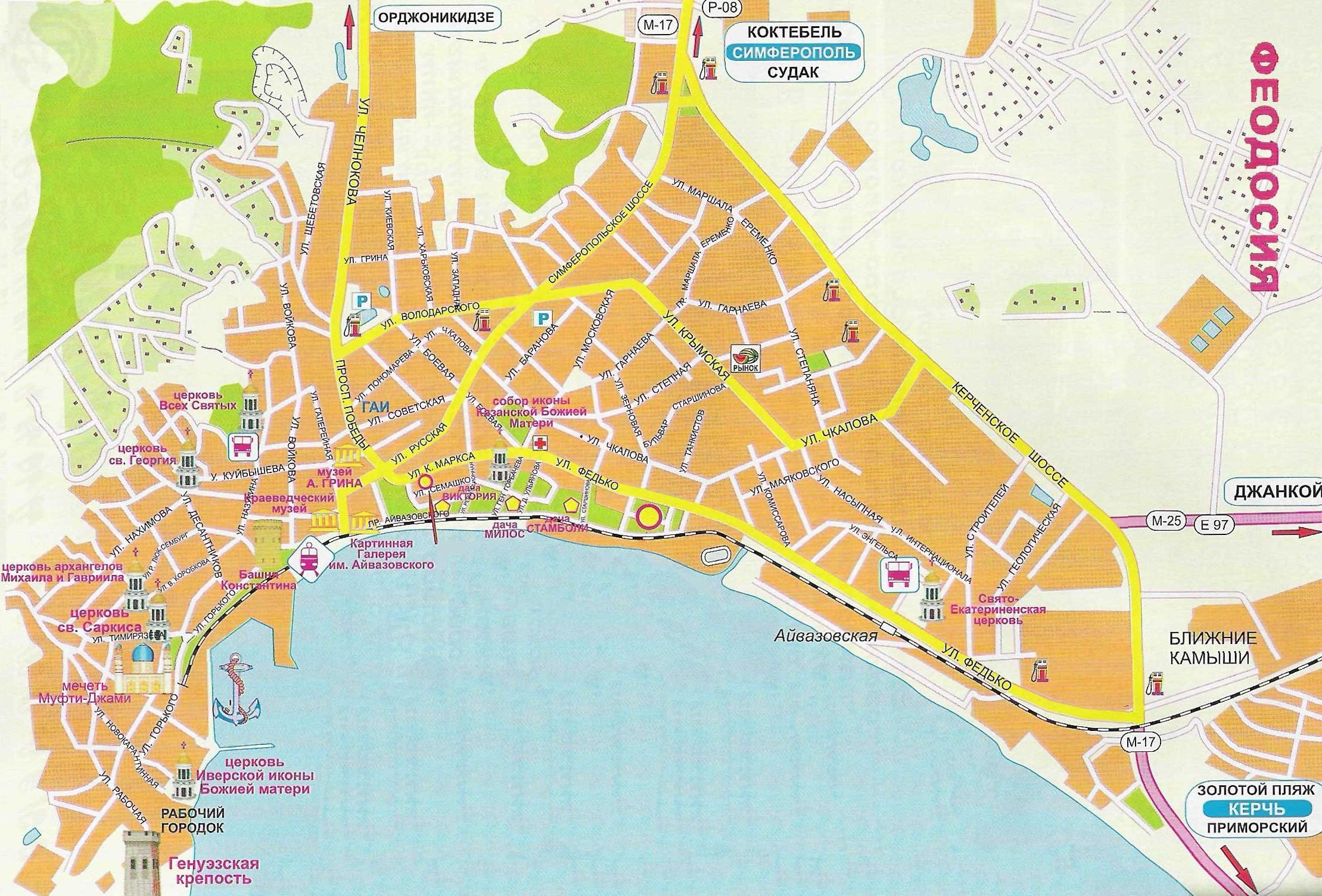 Карта достопримечательностей Феодосии