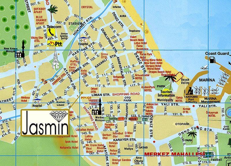 Карта центра Кемера