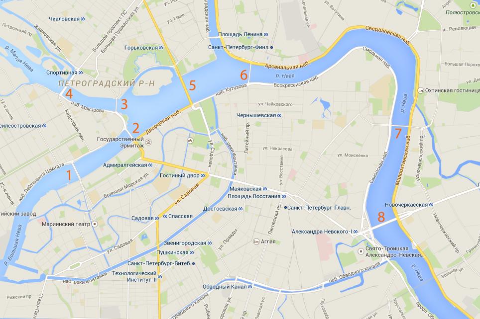 Карта разводных мостов Санкт-Петербурга